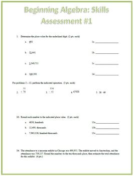 Real Numbers Skills Assessment (Test)