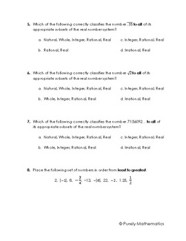 Real Numbers System Quiz