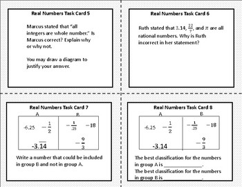 Real Numbers Task Cards 8.2A, 8.2B, 8.2C, 8.2D