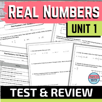 Real Numbers Test and Review Guide