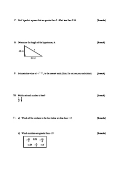 Math 9: Real Numbers Test - including Solutions