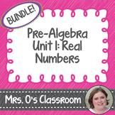 Real Numbers Unit: Notes, Homework, Quizzes, Study Guide, & Test