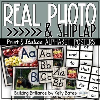 Real Photo & Shiplap Alphabet Posters (Italics & Print Font)