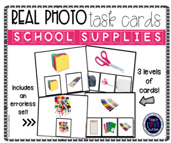Real Photograph Task Cards: School Supplies