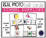 Real Photo Task Cards: School Supplies