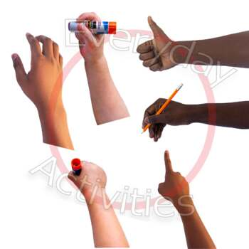 Real Photos Hands Pointing, 'Thumbs Up', At Rest, Holding Pencil, Glue Stick