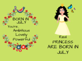 Real Princess are born in july notebook