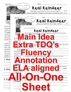 Real Reindeer FACTS Close Read 5 levels ALL READERS COVERED Informational Text