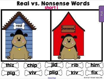 Real Vs Nonsense Words for Smartboard - No Bones About It