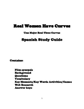 Real Women Have Curves-Spanish Study Guide