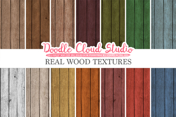Real Wood digital paper, Vintage Colors, Red, Green, Blue, Orange, Yellow, White