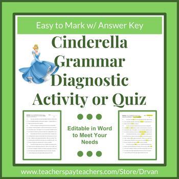 Real-Word Editing Grammar Diagnostic/Worksheet/Quiz - Using Cinderella Fairytale
