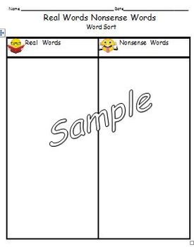 Real Words Nonsense Words Sorting Activity