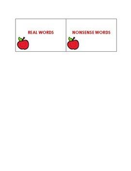 Real Words vs Nonsense Words- September