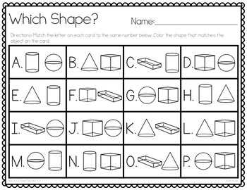 Real World 3-D Shapes Task Cards