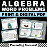 Algebra Word Problems Task Cards, Algebraic Expressions Activity