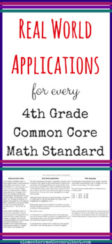 Real World Application & Plain Language for 4th Grade Common Core Math Standards