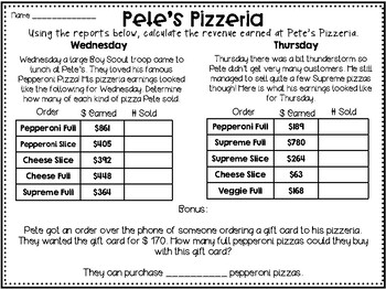 Real World Long Division Practice Pete's Pizzzeria