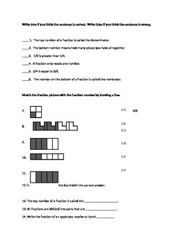 Real World Fraction Project and Test