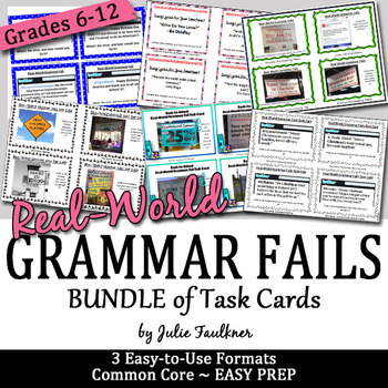 Real-World Grammar Fails Task Cards BUNDLE, FREE UPDATES