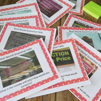 Grammar Fails in Real World, Proofreading, Task Cards, 1st Edition