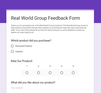 Real World Group Feedback Form