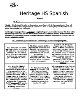 Real World Homework Spanish 1: classes, items in classroom, estar & prepositions