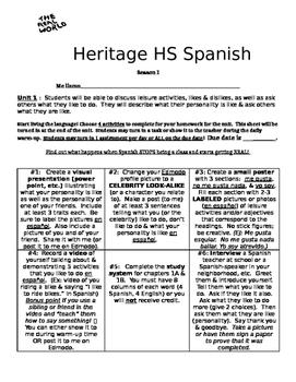Real World Homework - Spanish 1 (likes, dislikes, personality traits)