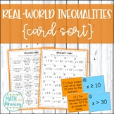 Real-World Inequalities Card Sort Activity - Includes Key Word Graphic Organizer