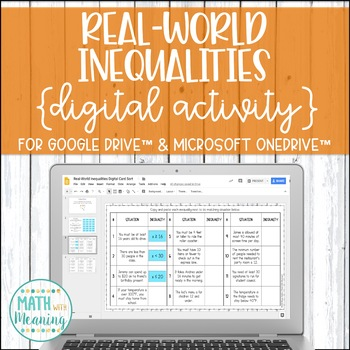 Real-World Inequalities DIGITAL Card Sort Activity for Google Drive & OneDrive