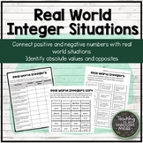 Real World Integer Situations (with opposites and absolute value)