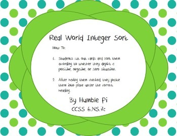 Real World Integer Sort- 6.NS.7c