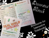 Real World Integers - Decorated Notes Brochure for Interactive Notebooks