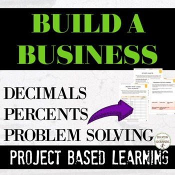 Project Based Learning Decimals and Percents Upper Elementary Simulation