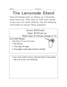 Real World Math Problem - The Lemonade Stand