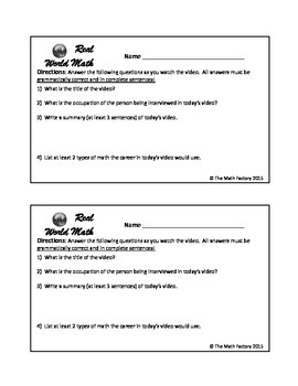 Real World Math Videos Companion Worksheet