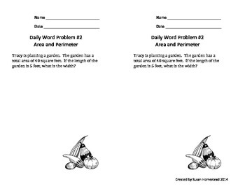Real World Math Word Problems Area & Perimeter ~CCSS 4.MD.A.3 Alligned