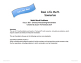 Real World Math Word Problems Division ~CCSS 4.OA.A.3 Alligned