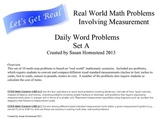 Real World Math Word Problems Set A - Measurement Conversions - CCSS Alligned
