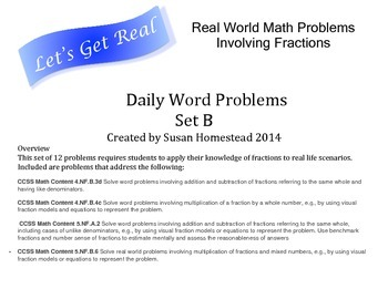 Real World Math Word Problems Set B - Fractions - CCSS Alligned