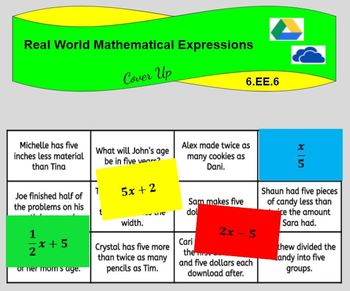 Real World Mathematical Expressions (6.EE.B.6)