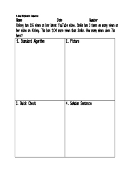 Real World Multiplicative Comparison Word Problems Printable!