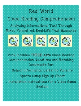 Real World Non Fiction Reading Comprehension Close Reading 3 pack