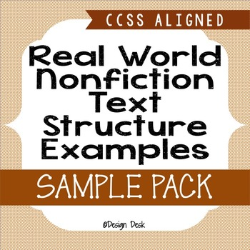 Real World Nonfiction Text Structures Practice SAMPLE (CCSS)