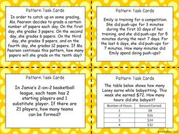 Real-World Pattern Task Cards {3.OA.D.9} {4.OA.C.5}