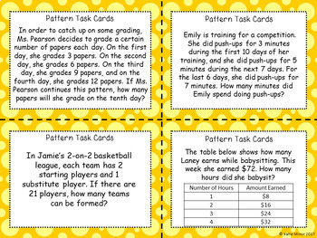 Real-World Pattern Task Cards {3.OA.D.9} {4.OA.C.5}