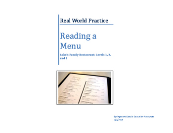 Real World Practice: Reading a Menu (Luke's, Levels 1, 2, and 3)