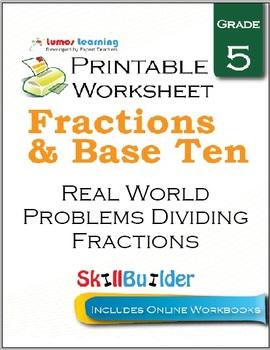 Real World Problems Dividing Fractions Printable Worksheet, Grade 5
