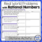 Rational Number Real-World Word Problems - Stations Activity (7.NS.3)