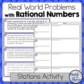 Rational Number Real-World Word Problems - Stations Activi